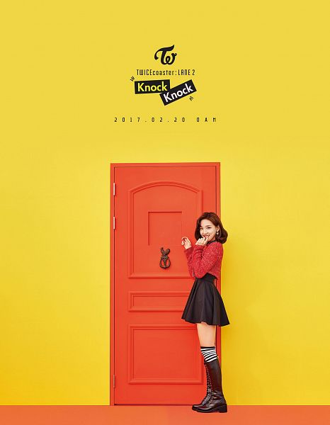 Tags: JYP Entertainment, K-Pop, Twice, Im Nayeon, Yellow Background, Text: Calendar Date, Text: Song Title, Text: Artist Name, Door, Android/iPhone Wallpaper, Twicecoaster: Lane 2