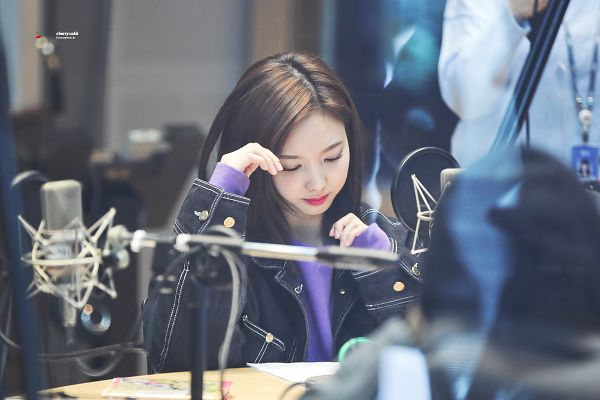 Tags: K-Pop, JYP Entertainment, Twice, Im Nayeon, Denim Jacket, Purple Shirt, Jacket, Looking Ahead, Microphone, Looking Down, Wallpaper