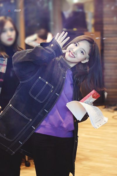 Tags: JYP Entertainment, K-Pop, Twice, Im Nayeon, Black Pants, Wave, Denim Jacket, Purple Shirt, Android/iPhone Wallpaper