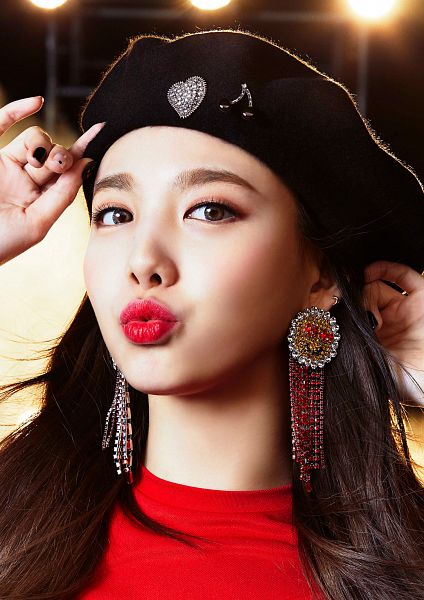Tags: JYP Entertainment, K-Pop, Twice, Wake Me Up, Im Nayeon, Close Up, Contact Lenses, Hat, Red Lips, Pouting, Red Shirt