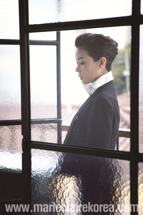 Tags: K-Drama, Im Soo-hyang, Window, Black Jacket, Black Outerwear, Hair Up, Side View, Marie Claire, Magazine Scan