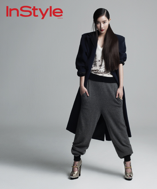 Tags: K-Drama, Im Soo-hyang, Red Lips, Gray Background, Hair Up, Ponytail, Hand In Pocket, Magazine Scan, InStyle
