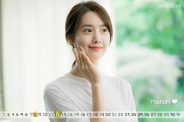 Tags: K-Pop, Girls' Generation, Im Yoona, Light Background, Text: Calendar Date, White Background, Hair Up, Text: Brand Name, Hand On Cheek, Hand On Head, Ponytail, Outdoors