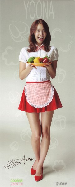 Tags: K-Pop, Girls' Generation, Im Yoona, Cosplay, Text: Artist Name, Maid Outfit, Gray Background, Bow, Food, Red Footwear, Checkered Bow, Pleated Skirt