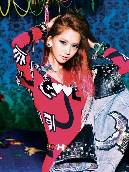 Tags: K-Pop, Girls' Generation, I Got A Boy, Im Yoona, Red Outfit, Necklace, Denim Jacket, Bracelet, Blue Eyes, Hand In Hair, Multi-colored Hair, Tattoo
