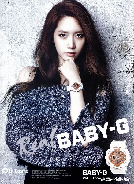 Tags: K-Pop, Girls' Generation, Im Yoona, Text: Brand Name, Watch, Skirt, Gray Shirt, Crossed Arms, Sweater, Black Skirt, Bare Shoulders, Gray Background