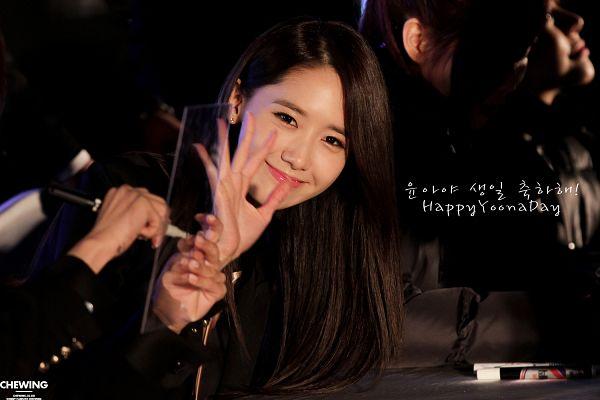 Tags: K-Pop, Girls' Generation, Im Yoona, Black Background, Text: Happy Birthday, Text: Artist Name, Dark Background, Wave, Wallpaper, Chewing