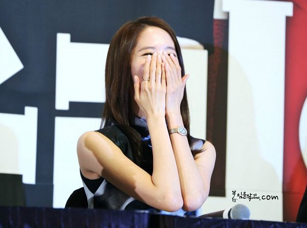 Tags: K-Pop, Girls' Generation, Im Yoona, Eyes Closed, Watch, Sleeveless, Sleeveless Shirt, Laughing, Bare Shoulders, Ring, Chair, Covering Mouth