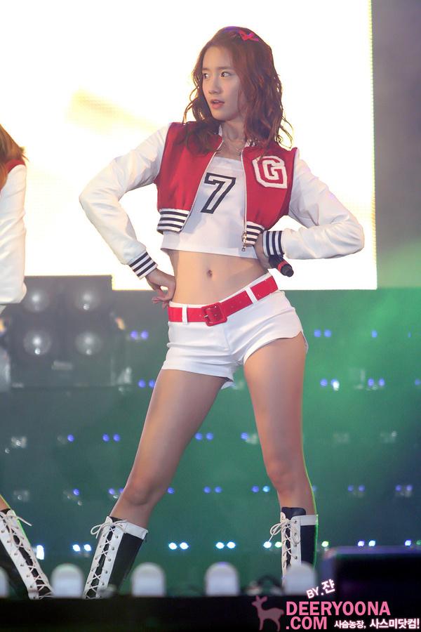 Tags: K-Pop, Girls' Generation, Im Yoona, Looking Away, Crop Top, Black Footwear, Medium Hair, Knee Boots, White Shorts, Red Outerwear, Microphone, Hand On Hip