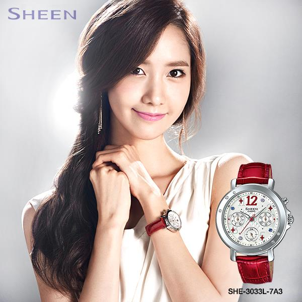 Tags: K-Pop, Girls' Generation, Im Yoona, Watch, White Outfit, Sleeveless Dress, White Dress, Gray Background, Sleeveless, Clasped Hands, Bare Shoulders, Casio