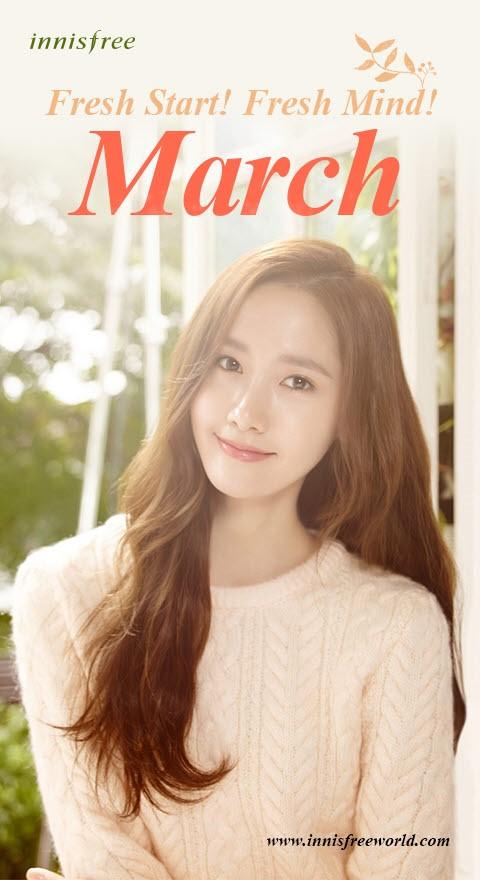 Tags: K-Pop, Girls' Generation, Im Yoona, English Text, Text: Brand Name, Wavy Hair, Sweater, Innisfree
