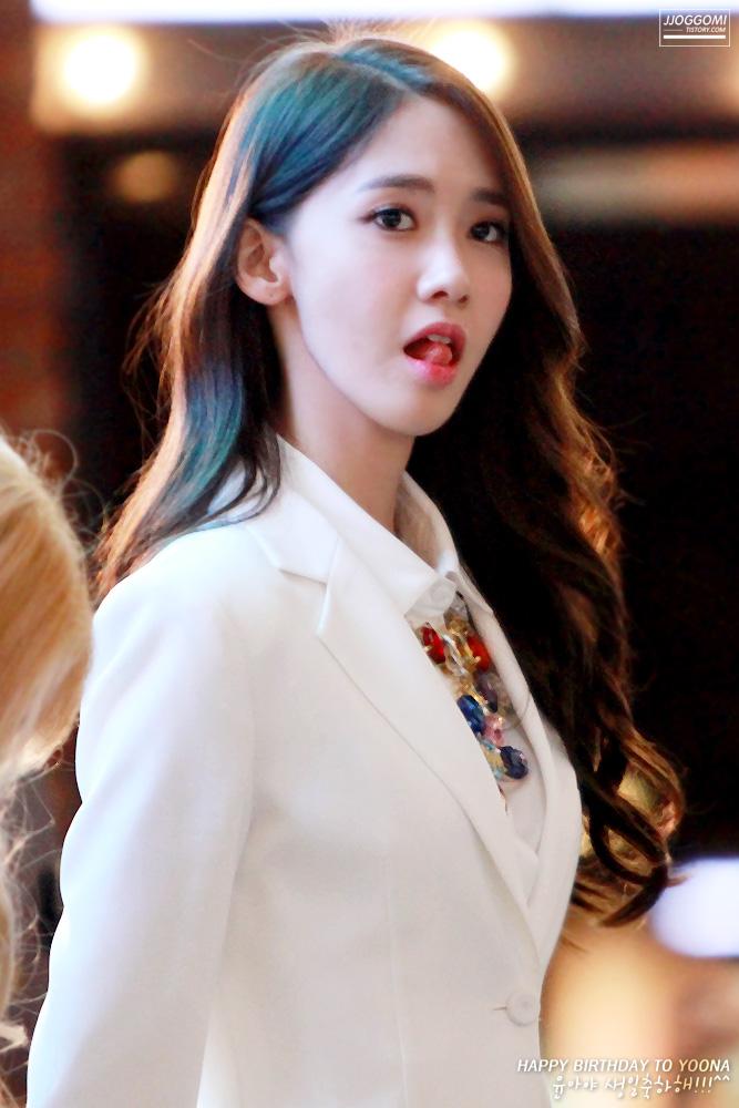 Tags: K-Pop, Girls' Generation, Im Yoona, Text: Happy Birthday, Korean Text, White Outerwear, Text: Artist Name, Tongue, Necklace, White Jacket, Jjoggomi