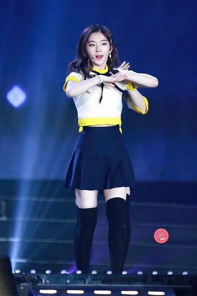 Tags: K-Pop, Red Velvet, Irene, Skirt, Black Legwear, Yellow Shirt, Hair Ornament, Hair Clip, Black Skirt, Bare Legs, Blue Background, Thigh Highs