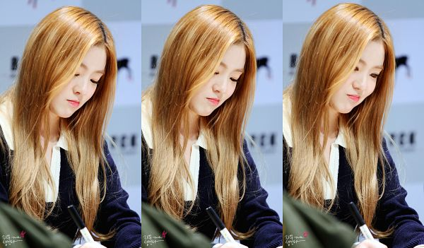 Tags: SM Town, K-Pop, Red Velvet, Irene, Collage, Looking Ahead, Looking Down, Blonde Hair, Pouting, Wallpaper, Fansigning Event, HD Wallpaper