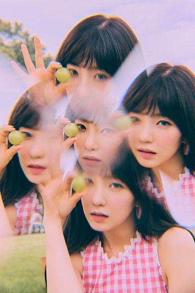 Tags: K-Pop, Red Velvet, Irene, Bare Shoulders, Black Eyes, White Background, Checkered Shirt, Fruits, Sleeveless, Grapes, Sleeveless Shirt, Multiple Persona