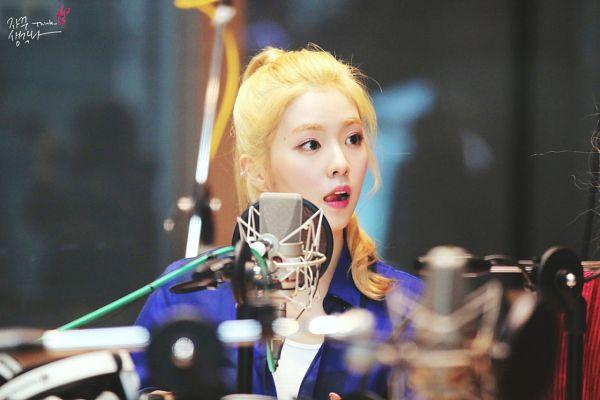 Tags: K-Pop, Red Velvet, Irene, Tongue, Looking Away, Blue Shirt