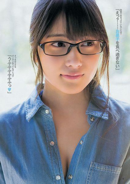 Tags: J-Pop, AKB48, Iriyama Anna, Glasses, Cleavage, Looking Away, Denim Shirt, Hair Up, Japanese Text, Light Background, Suggestive, White Background