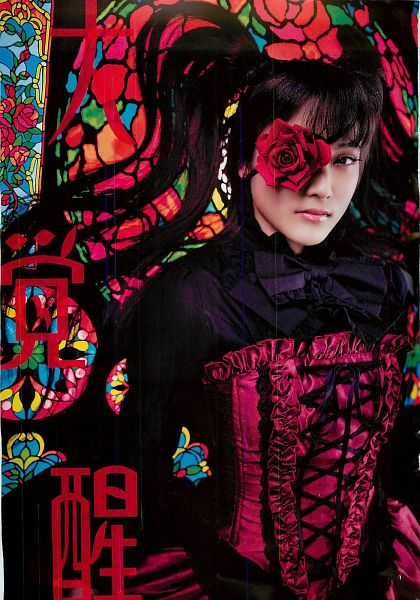 Tags: J-Pop, AKB48, Iriyama Anna, Japanese Text, Red Dress, Bow, Red Outfit, Twin Tails, Black Neckwear, Flower, Black Bow, Rose (flower)