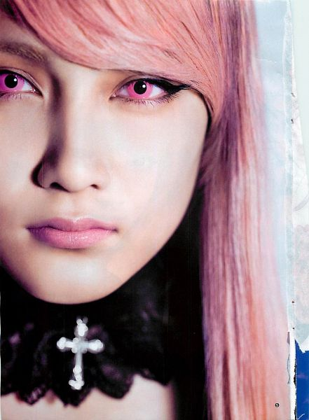 Tags: J-Pop, AKB48, Iriyama Anna, Pink Hair, Contact Lenses, Close Up, Choker, Android/iPhone Wallpaper