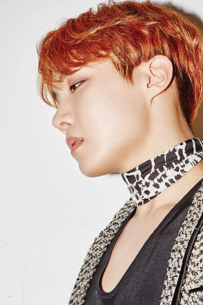 Tags: K-Pop, BTS, J-Hope, Looking Down, Side View, Scarf, Red Hair, Gray Background, Serious, GQ Korea, Magazine Scan