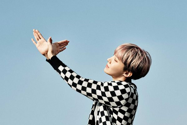 Tags: K-Pop, BTS, J-Hope, Sky, Side View, Eyes Closed, Checkered, Checkered Shirt, Blue Background, You Never Walk Alone, Wallpaper