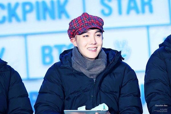 Tags: K-Pop, BTS, J-Hope, Black Eyes, Coat, Black Outerwear, Plaided Print, Hood, Scarf, Grin, Red Headwear