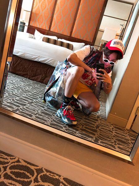 Tags: K-Pop, BTS, J-Hope, Glass, Mirror, Watch, Bare Legs, Sunglasses, Bed, Hat, Sneakers, Smartphone