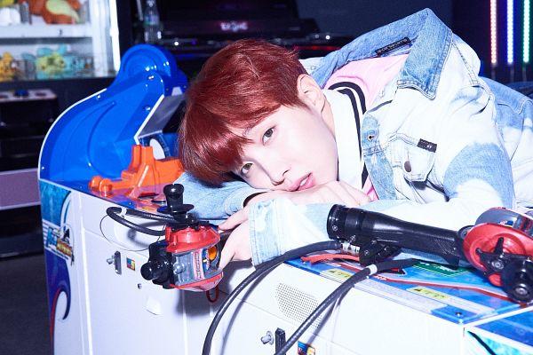 Tags: K-Pop, BTS, J-Hope, Denim Jacket, Red Hair, Arcade, Indoors, Dark Background, Love Yourself: Her, Twitter