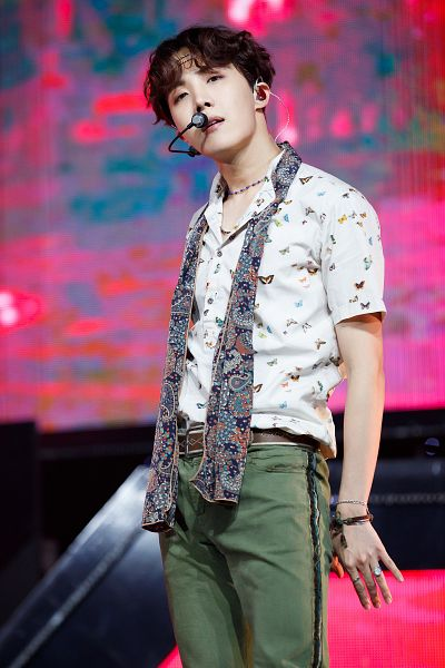 Tags: K-Pop, Television Show, BTS, Airplane pt.2, J-Hope, Wavy Hair, Short Sleeves, Belt, Green Pants, Necklace, Bracelet, Ring