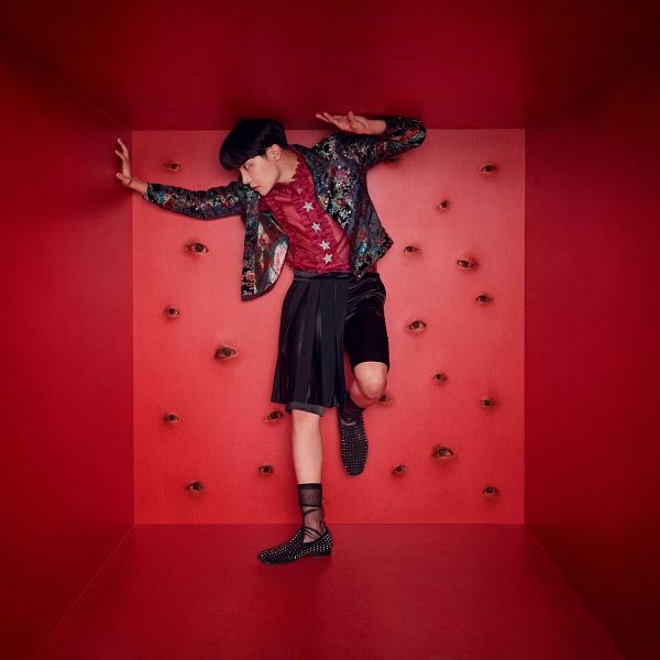 Tags: K-Pop, Bangtan Boys, J-Hope, Frills, Socks, Black Shorts, Red Background, Leg Up, Shorts, Star (Symbol), Red Shirt, Full Body