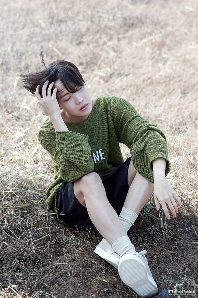 Tags: K-Pop, BTS, J-Hope, English Text, Text: URL, Eyes Closed, Grass, Green Shirt, Shorts, Sitting On Ground, Wind, Text: Artist Name