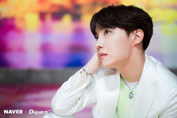 Tags: K-Pop, BTS, Boy With Luv, J-Hope, White Jacket, English Text, Green Shirt, Necklace, White Outerwear, Looking Up, Bracelet, Dispatch