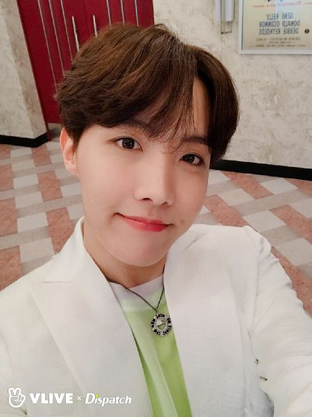 Tags: K-Pop, BTS, Boy With Luv, J-Hope, White Jacket, English Text, White Outerwear, Green Shirt, Necklace, Black Eyes, Dispatch, Map of the Soul: Persona
