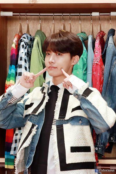 Tags: K-Pop, BTS, J-Hope, Cute, English Text, Text: URL, Black Eyes, Closet, Denim Jacket, Hanger, Text: Artist Name, Map of the Soul: Persona