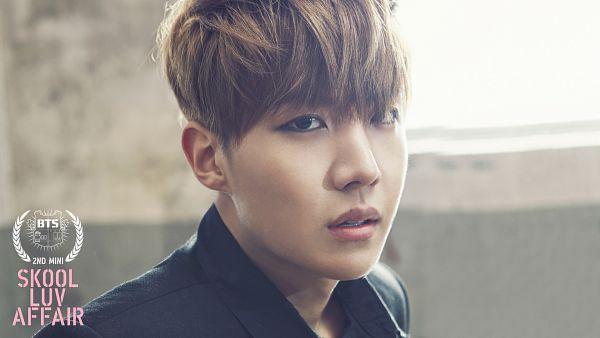 Tags: K-Pop, Bangtan Boys, J-Hope, Gray Background, Text: Artist Name, Text: Album Name, Black Shirt, School Uniform, Skool Luv Affair, Wallpaper, HD Wallpaper