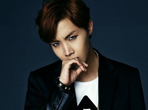 Tags: K-Pop, BTS, J-Hope, Bracelet, Covering Mouth, Finger To Lips, Black Jacket, Necklace, Blue Background, Wallpaper, Dark & Wild