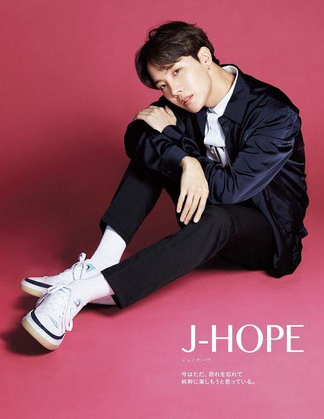 Tags: K-Pop, BTS, J-Hope, Japanese Text, Socks, Text: Artist Name, Black Eyes, Pink Background, Blue Jacket, Blue Outerwear, Magazine Scan, Anan Magazine