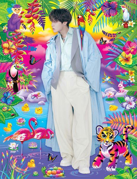 Tags: K-Pop, BTS, J-Hope, Bird, Blue Shirt, White Pants, Vest, Hand In Pocket, White Footwear, Animal, Looking Away, Water