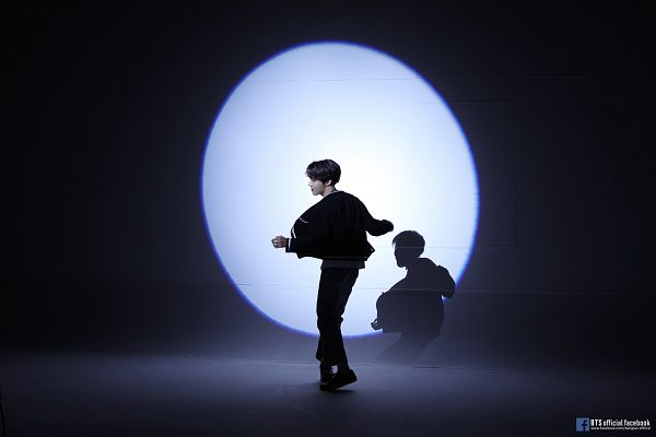Tags: K-Pop, BTS, Outro: Ego, J-Hope, Ring, Text: Artist Name, Shoes, Dancing, Shadow, Black Pants, Crossed Legs (Standing), Back