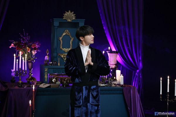 Tags: K-Pop, BTS, Outro: Ego, J-Hope, Ring, Curtain, Collar (Clothes), Vase, Text: Artist Name, Candle, Candelabrum, Text: URL