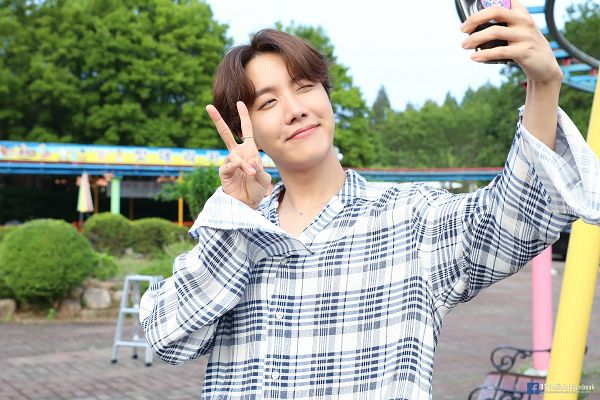 Tags: K-Pop, BTS, J-Hope, Close Up, Plaided Print, Outdoors, Necklace, Text: URL, English Text, Phone, Plaided Shirt, Tree