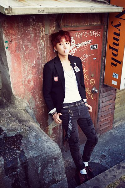 Tags: K-Pop, Bangtan Boys, J-Hope, Candy, Red Hair, Hand In Pocket, Socks, Bracelet, Leaning On Wall, Belt, Looking Away, Gum