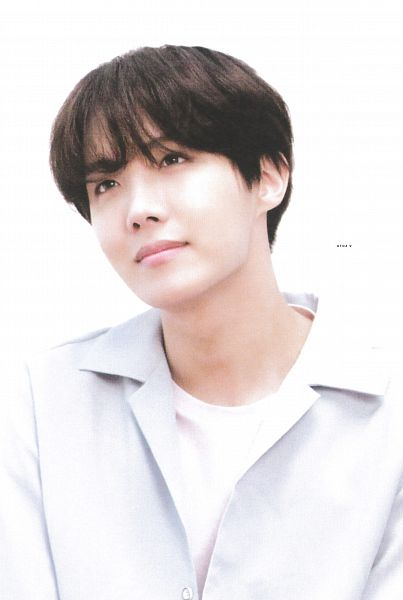 Tags: K-Pop, BTS, J-Hope, White Background, Blue Shirt, Contact Lenses, Close Up, Light Background, BTS World Tour: Love Yourself, Scan, Love Yourself Tour Program Book