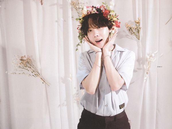 Tags: K-Pop, BTS, J-Hope, Curtain, Bracelet, Red Flower, Flower Gesture, Contact Lenses, Flower, Hand On Head, Orange Flower, White Flower