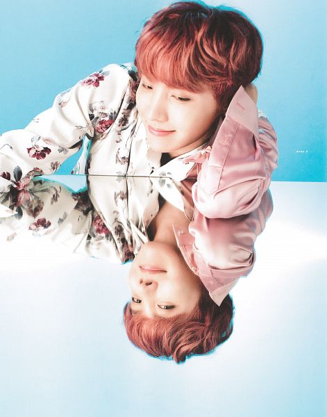 Tags: K-Pop, BTS, J-Hope, Red Hair, Looking At Reflection, Blue Background, Reflection, Floral Print, Light Background, Floral Jacket, Looking Down, The Wings Tour Program Book