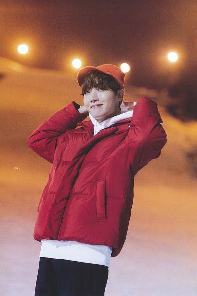 Tags: K-Pop, BTS, J-Hope, Red Jacket, Hood, Outdoors, Hoodie, Red Outerwear, Night, Black Pants, Orange Headwear, Snow