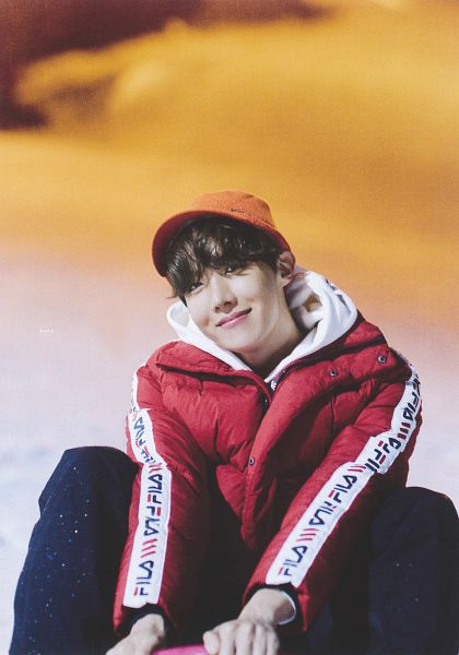 Tags: K-Pop, BTS, J-Hope, Hoodie, Orange Headwear, Night, Snow, Sitting On Ground, Outdoors, Red Jacket, Hood, Red Outerwear