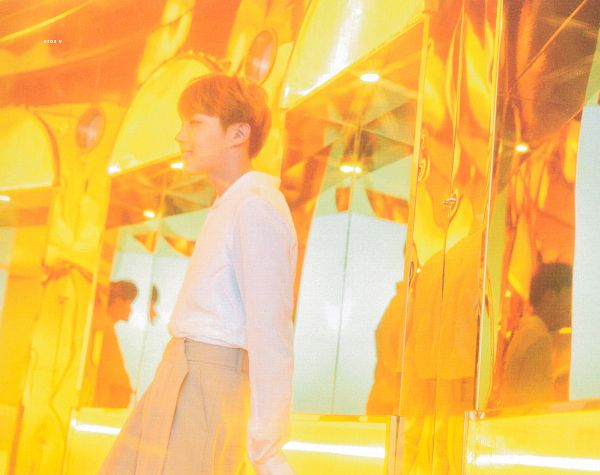Tags: K-Pop, BTS, J-Hope, Grin, Reflection, Side View, Red Hair, Indoors, Love Yourself: Her, Scan