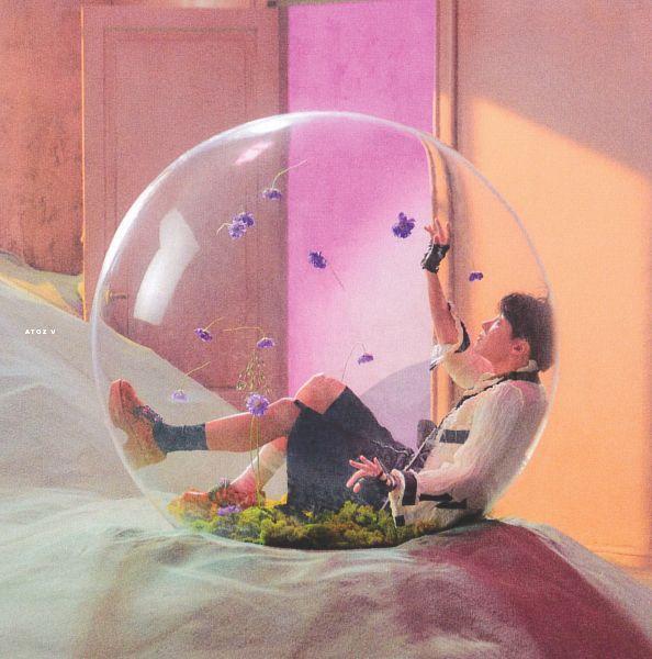 Tags: K-Pop, BTS, J-Hope, Side View, White Legwear, Purple Flower, Flower, Looking Up, Shoes, One Arm Up, Fingerless Gloves, Bubbles