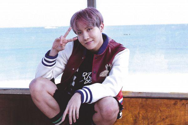 Tags: K-Pop, BTS, J-Hope, Purple Hair, Striped, V Gesture, Animal Print, Socks, Black Shorts, Bus Stop, Black Eyes, Striped Legwear